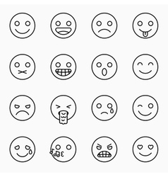Emoticons set outline website emoticons vector