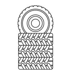 Pile of tires icon outline style vector