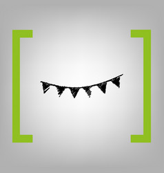 holiday flags garlands sign black vector image
