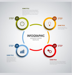 Info graphic with colored rounds design elements vector