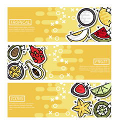 Horizontal banners about indian tropical fruit vector