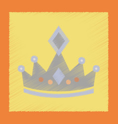 Flat shading style icon crown royal vector