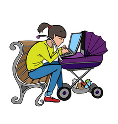 yong working mother using laptop at stroller vector image