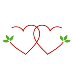 Two hearts with leaves- logo for matrimony vector