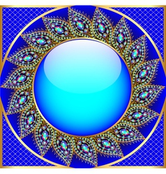 Background round frame with the ornament vector
