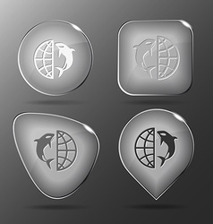Globe and shamoo glass buttons vector