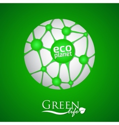 Planet with green eco net and icon vector