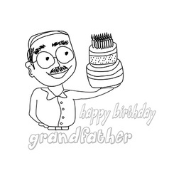 Birthday cake hold by grandfather vector