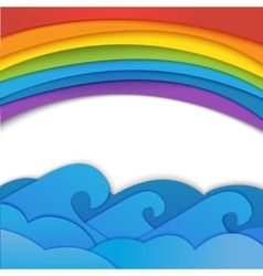 Rainbow background with sea waves vector