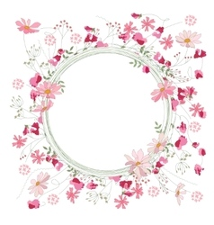 Detailed contour wreath with herbs sweet peas and vector