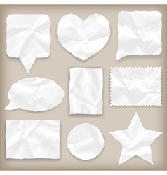 Labels or symbols of white crumpled paper vector