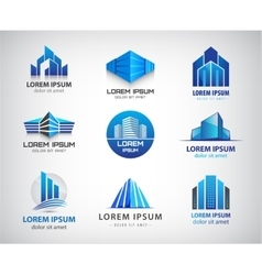 Set of blue modern office company vector