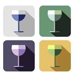 Set of colorful icons of wineglass vector