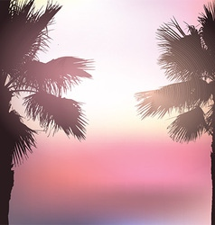 Retro styled palm tree background vector image