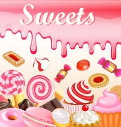 Sweet dessert food frame background glaze stains vector