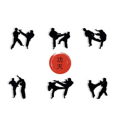 a group of men showing kung fu and a hieroglyph vector image vector image