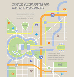 A map a poster a guitar vector