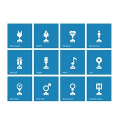 Award icons on blue background vector image vector image