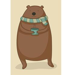 bear with tea vector image vector image