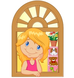 Cartoon little girl smiling and watching out the w vector