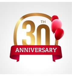 Celebrating 30 years anniversary golden label with vector image vector image