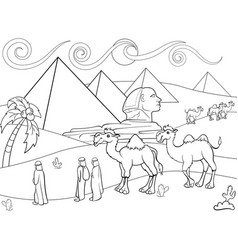 children coloring landscape of egypt with vector image vector image