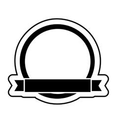 Circular badge with ribbon design vector