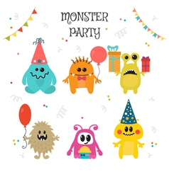 Cute little monsters birthday party vector image