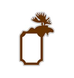 deer emblem moose logo animal with horns wild vector image