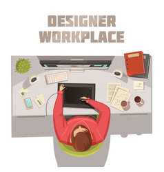 Designer workplace cartoon concept vector