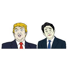 donald trump and shinzo abe portrait flat design vector image vector image
