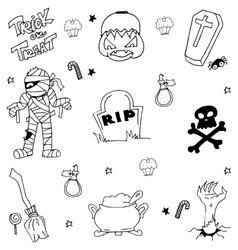 Doodle of halloween mummy tomb pumpkins zombie vector
