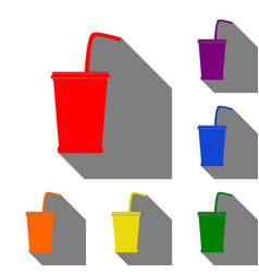 drink sign set of red orange vector image