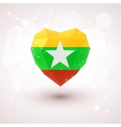 Flag of myanmar in shape diamond glass heart vector