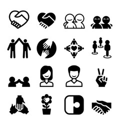 friendship icon set vector image vector image