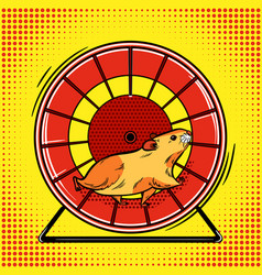 Hamster in the wheel pop art vector