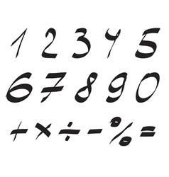 Handwritten Font Arabic Numerals Set vector image