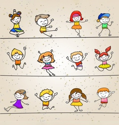Happy kids hand drawing cartoon character vector