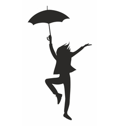 happy woman with umbrella vector image vector image