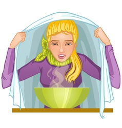 Ill young woman makes inhalation vector image vector image