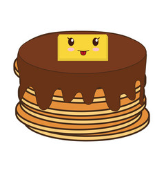 Kawaii pancakes food icon vector