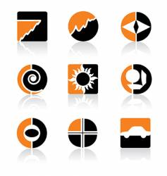 orange icons vector image vector image