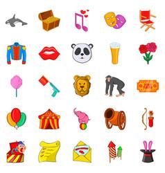 Performer icons set cartoon style vector