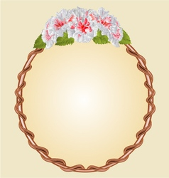 Round frame with whites hibiscus greeting card vector