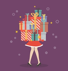 Santa woman holding a pile of gift boxes vector
