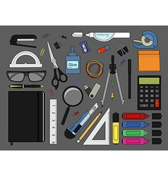 Stationery tools icons set color vector