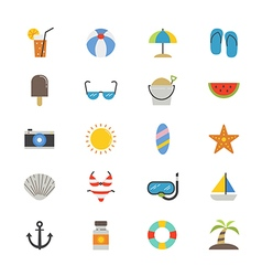 Summer Relax and Beach Flat Icons color vector image vector image