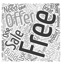 The power of a free offer text background vector