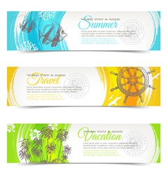 Vacation and travel hand drawn banners vector image vector image