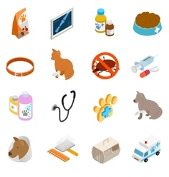 Veterinary icons set isometric 3d style vector image
